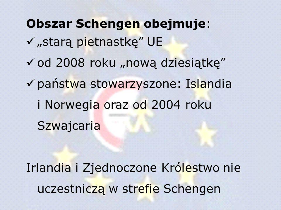 Obszar Schengen obejmuje: