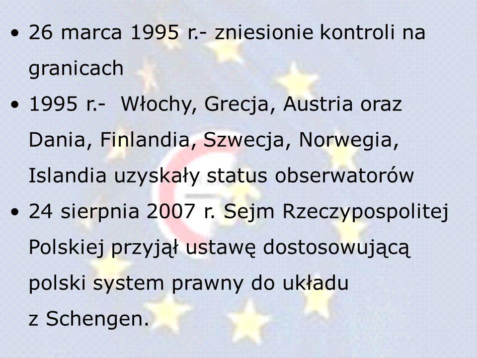 26 marca 1995 r.- zniesionie kontroli na granicach