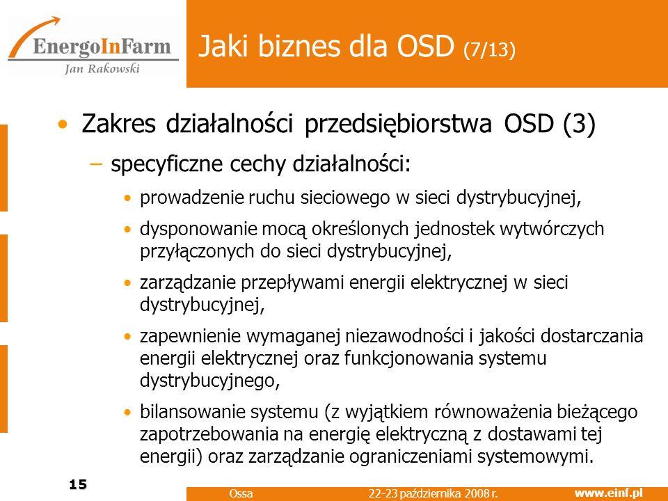 Jaki biznes dla OSD (7/13) Zakres działalności przedsiębiorstwa OSD (3) specyficzne cechy działalności: