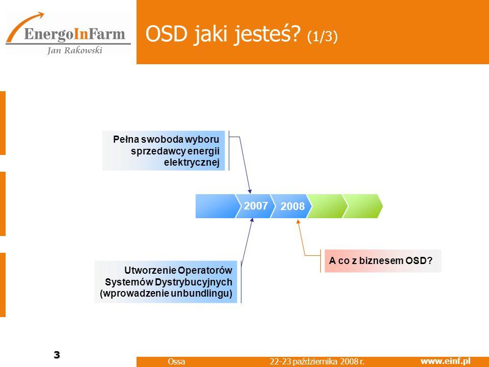 OSD jaki jesteś (1/3) Pełna swoboda wyboru sprzedawcy energii elektrycznej. 2007. 2008. A co z biznesem OSD
