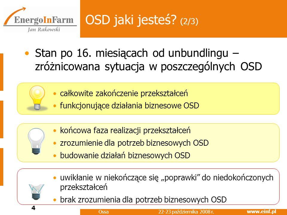OSD jaki jesteś (2/3) Stan po 16. miesiącach od unbundlingu – zróżnicowana sytuacja w poszczególnych OSD.