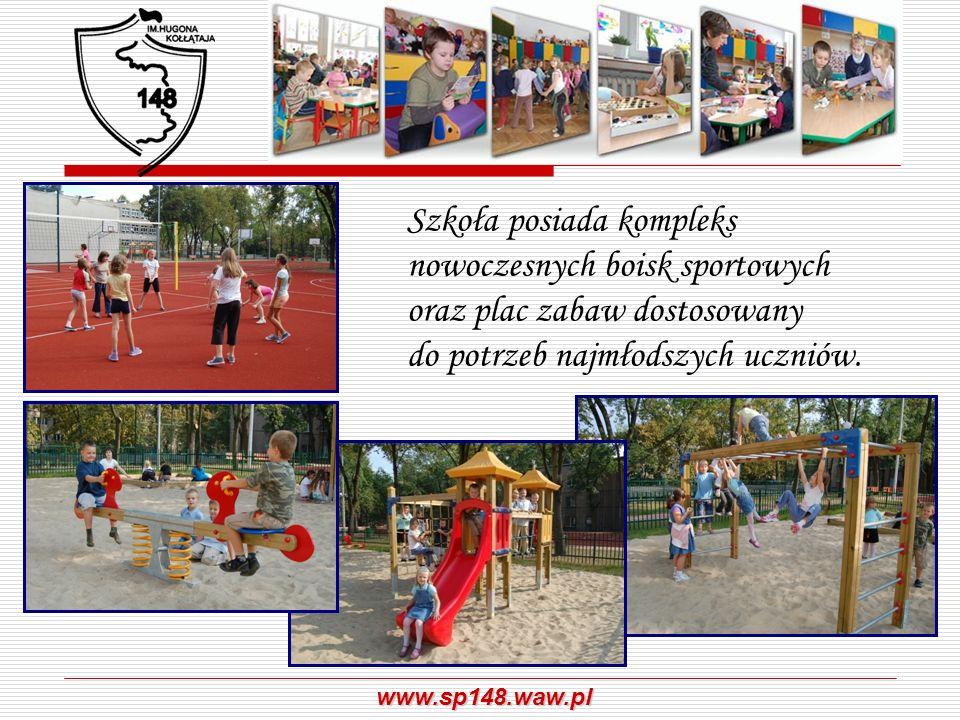 Szkoła posiada kompleks nowoczesnych boisk sportowych oraz plac zabaw dostosowany do potrzeb najmłodszych uczniów.