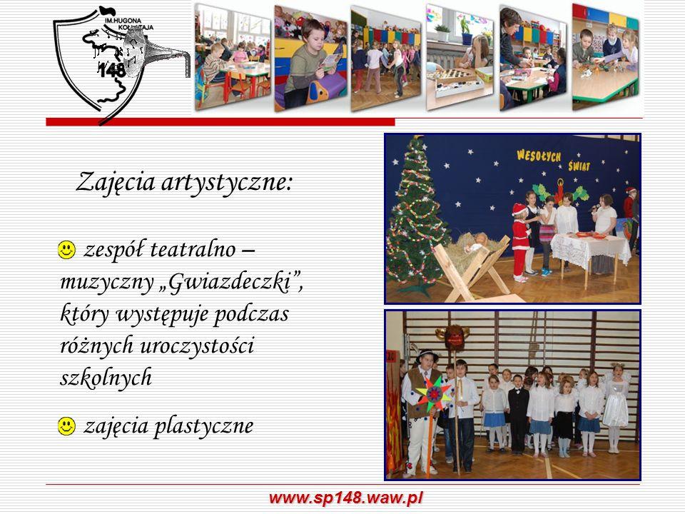 """Zajęcia artystyczne:zespół teatralno – muzyczny """"Gwiazdeczki , który występuje podczas różnych uroczystości szkolnych."""