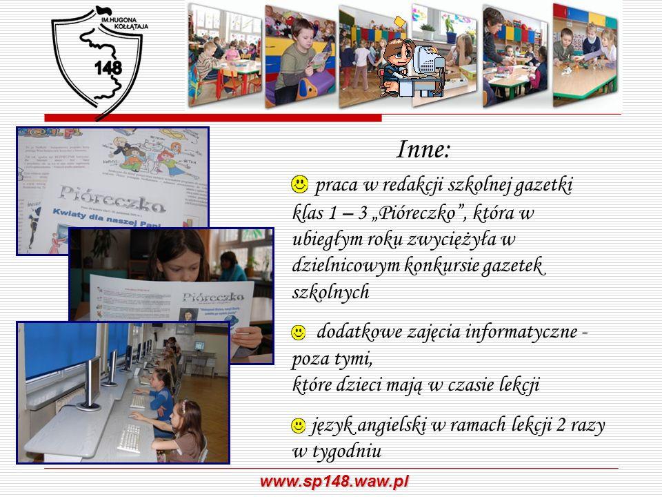 """Inne: praca w redakcji szkolnej gazetki klas 1 – 3 """"Pióreczko , która w ubiegłym roku zwyciężyła w dzielnicowym konkursie gazetek szkolnych."""