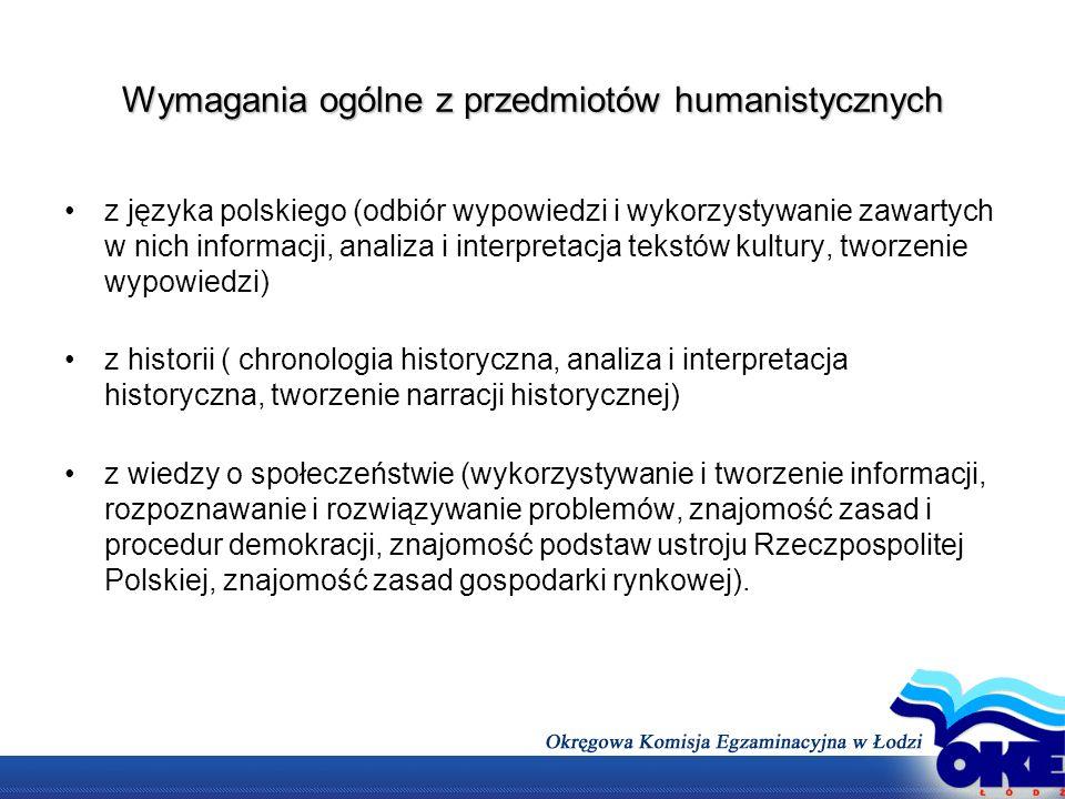 Wymagania ogólne z przedmiotów humanistycznych