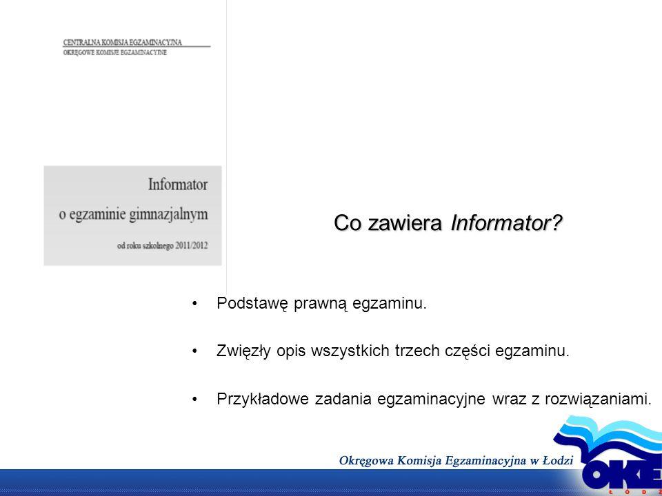 Co zawiera Informator Podstawę prawną egzaminu.