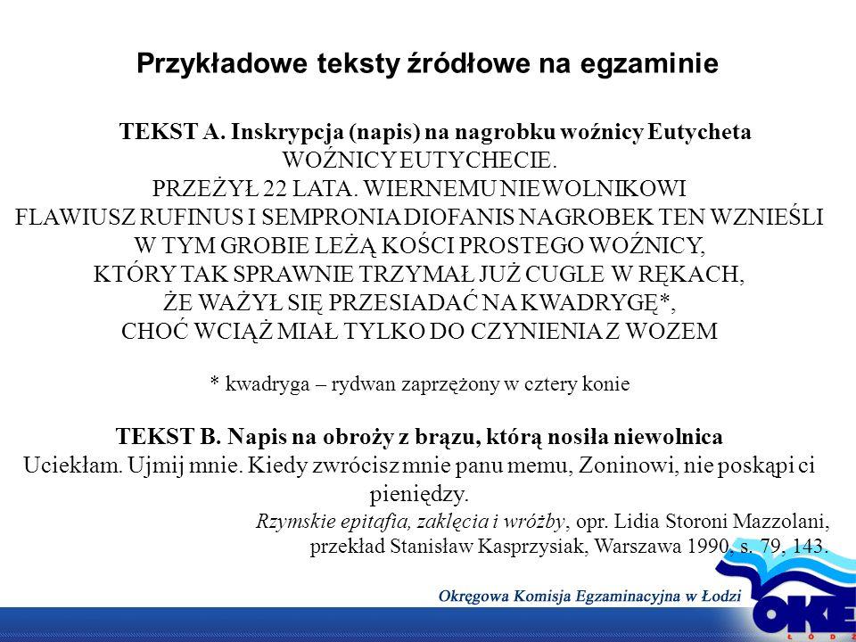 Przykładowe teksty źródłowe na egzaminie