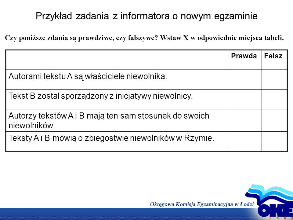 Przykład zadania z informatora o nowym egzaminie