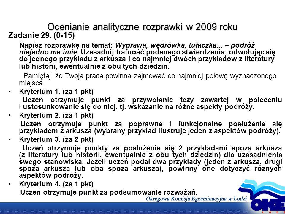 Ocenianie analityczne rozprawki w 2009 roku