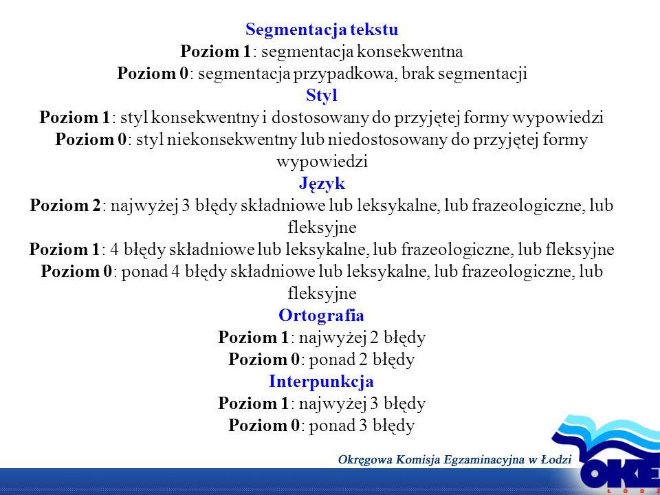 Segmentacja tekstu Styl Język Ortografia Interpunkcja