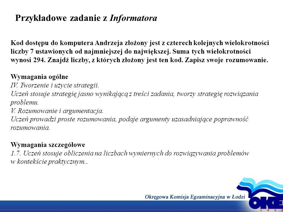 Przykładowe zadanie z Informatora