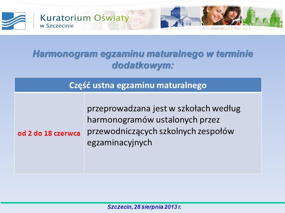 Harmonogram egzaminu maturalnego w terminie dodatkowym:
