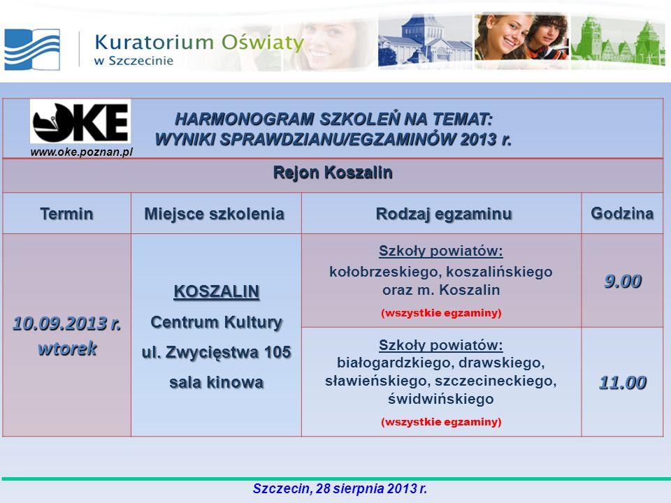 HARMONOGRAM SZKOLEŃ NA TEMAT: WYNIKI SPRAWDZIANU/EGZAMINÓW 2013 r.