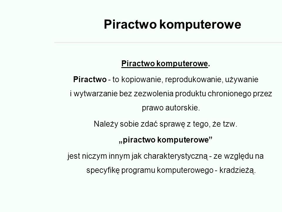 Piractwo komputerowe Piractwo komputerowe.