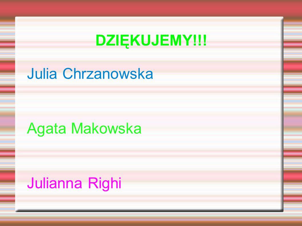 DZIĘKUJEMY!!! Julia Chrzanowska Agata Makowska Julianna Righi
