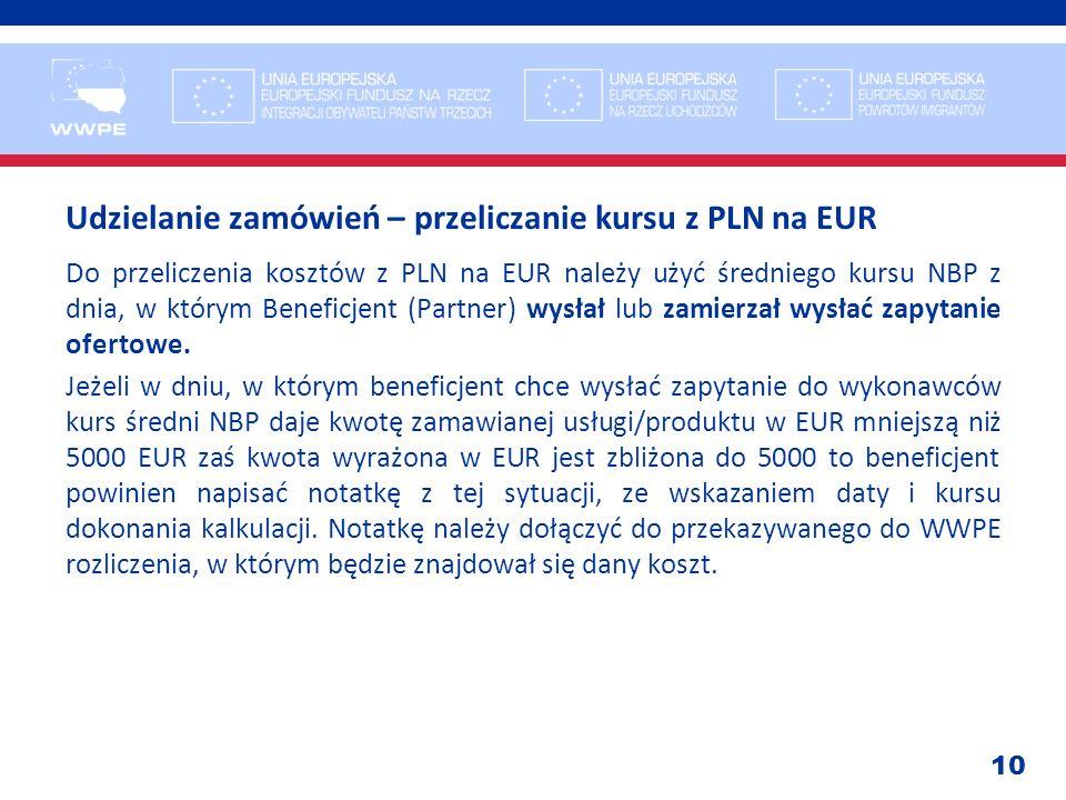 Udzielanie zamówień – przeliczanie kursu z PLN na EUR