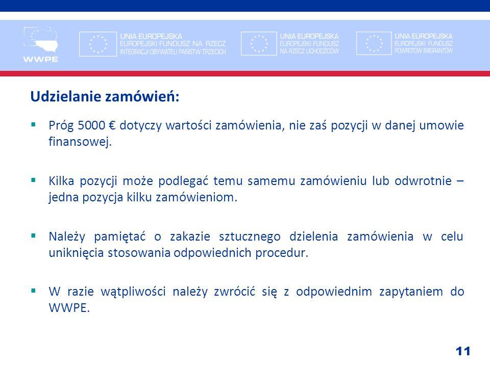 Udzielanie zamówień: Próg 5000 € dotyczy wartości zamówienia, nie zaś pozycji w danej umowie finansowej.