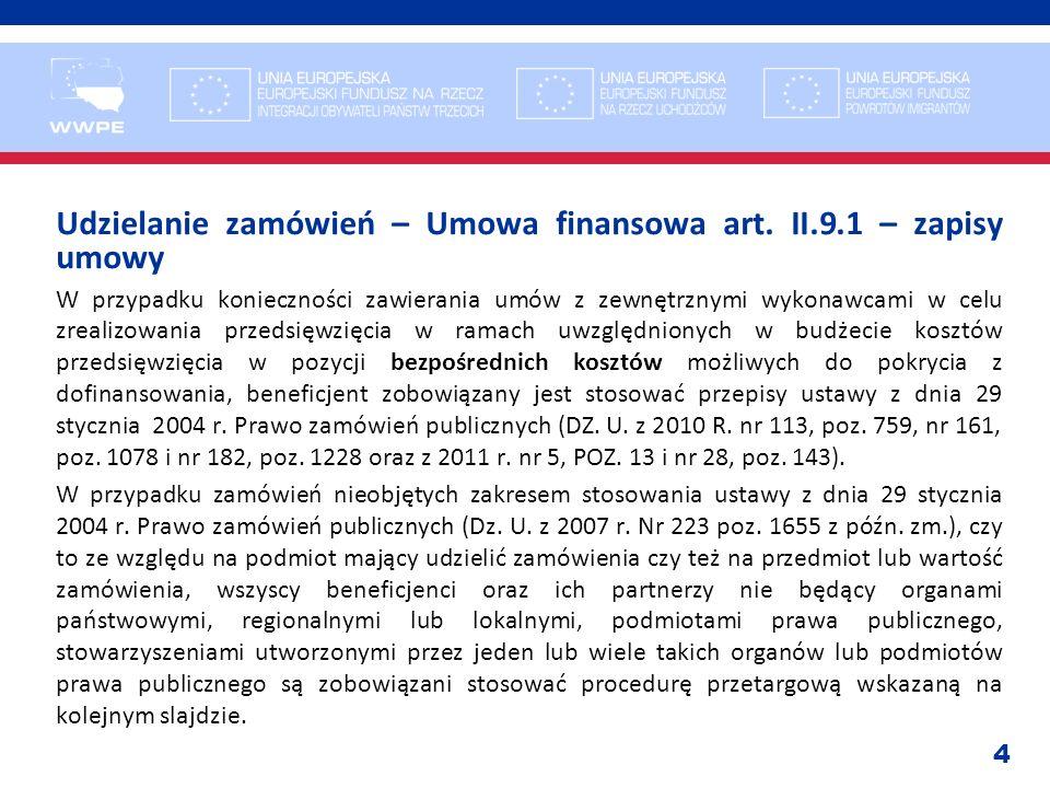 Udzielanie zamówień – Umowa finansowa art. II.9.1 – zapisy umowy