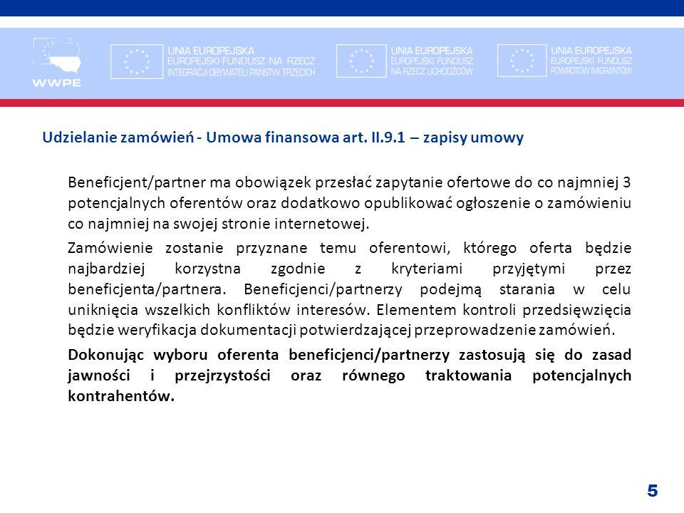 Udzielanie zamówień - Umowa finansowa art. II. 9