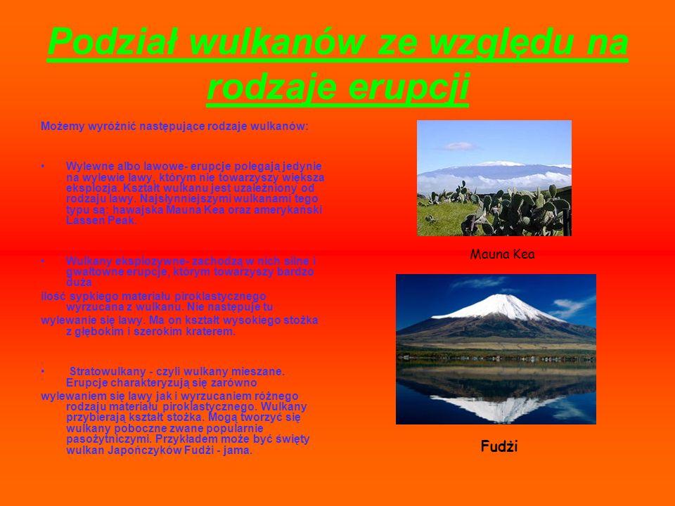 Podział wulkanów ze względu na rodzaje erupcji