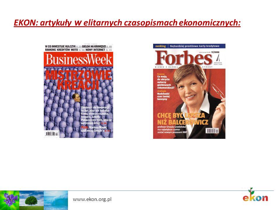 EKON: artykuły w elitarnych czasopismach ekonomicznych: