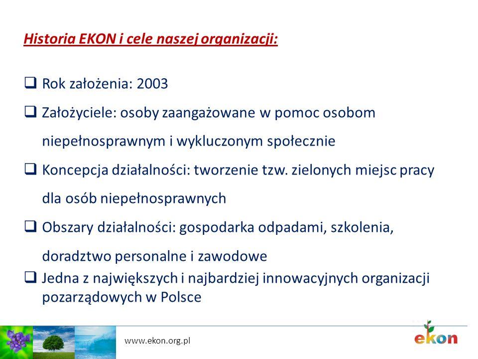 Historia EKON i cele naszej organizacji: Rok założenia: 2003