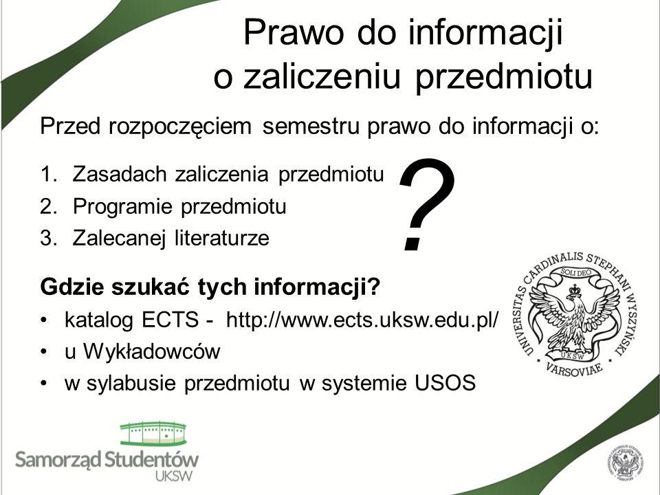 Prawo do informacji o zaliczeniu przedmiotu