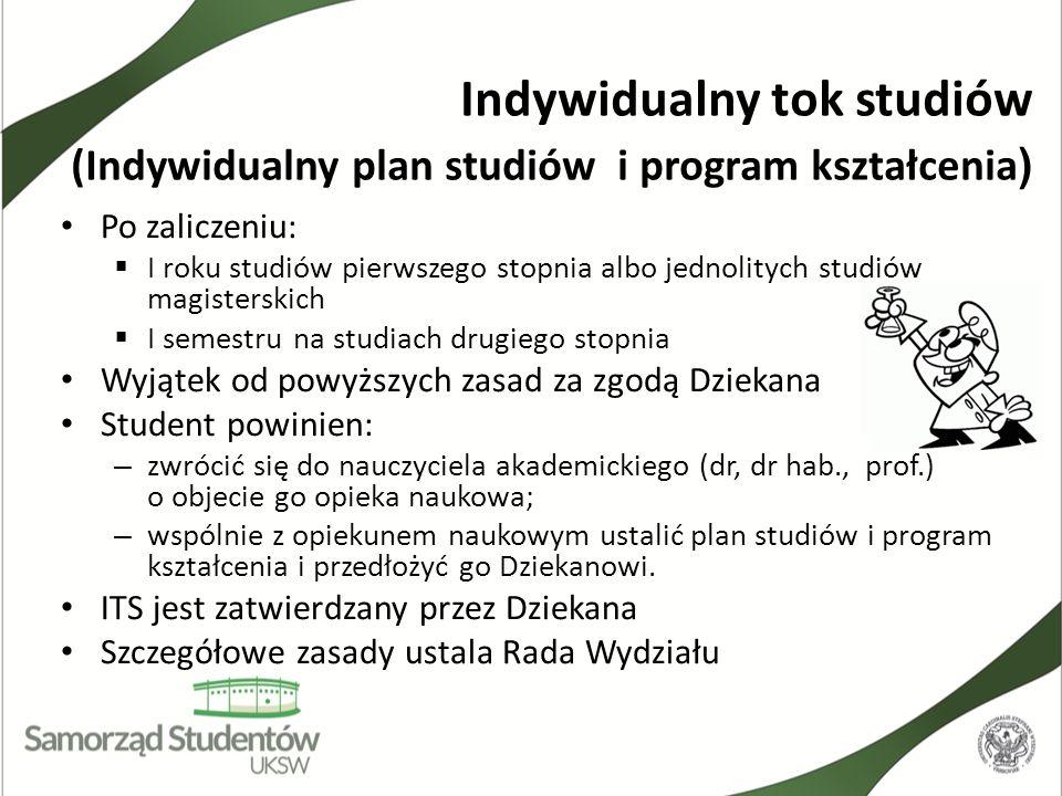 Indywidualny tok studiów (Indywidualny plan studiów i program kształcenia)