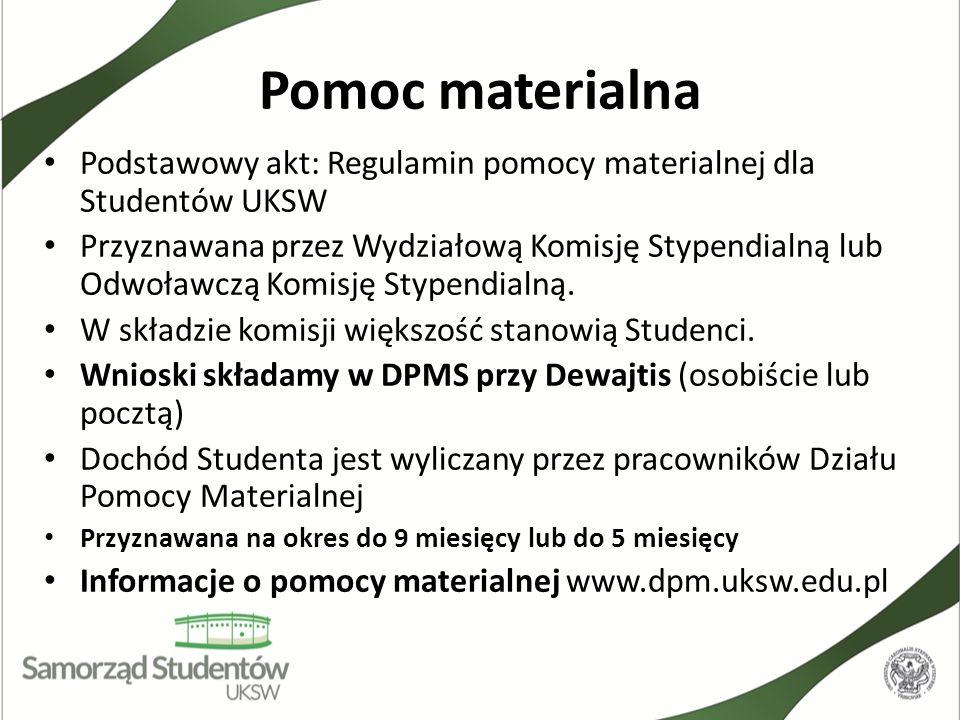 Pomoc materialna Podstawowy akt: Regulamin pomocy materialnej dla Studentów UKSW.