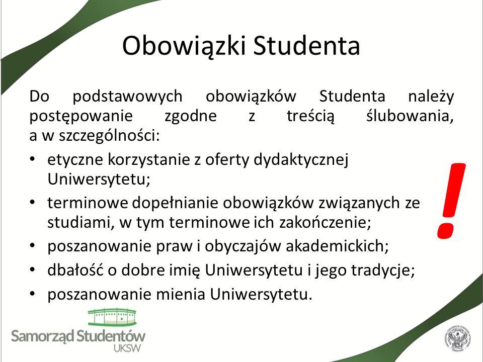 Obowiązki Studenta Do podstawowych obowiązków Studenta należy postępowanie zgodne z treścią ślubowania, a w szczególności: