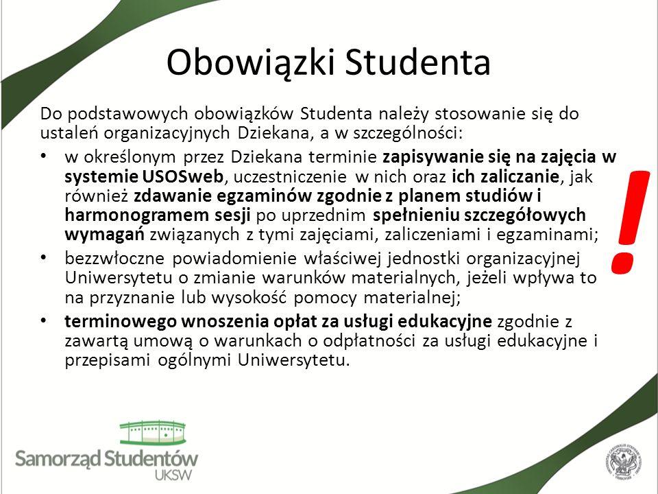Obowiązki StudentaDo podstawowych obowiązków Studenta należy stosowanie się do ustaleń organizacyjnych Dziekana, a w szczególności: