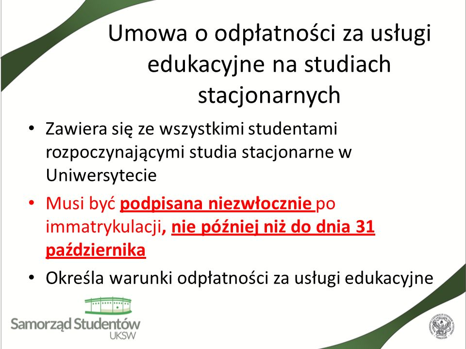 Umowa o odpłatności za usługi edukacyjne na studiach stacjonarnych