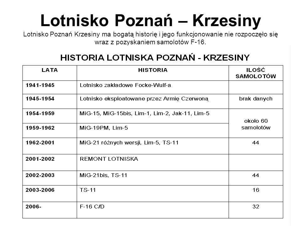 Lotnisko Poznań – Krzesiny Lotnisko Poznań Krzesiny ma bogatą historię i jego funkcjonowanie nie rozpoczęło się wraz z pozyskaniem samolotów F-16.