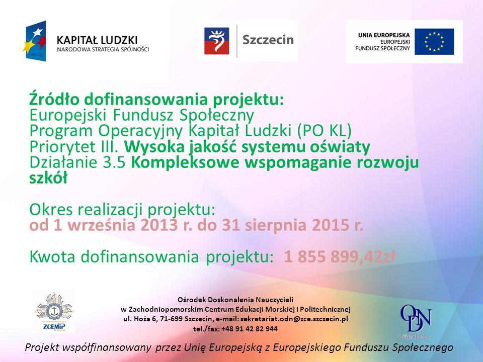 Źródło dofinansowania projektu: Europejski Fundusz Społeczny