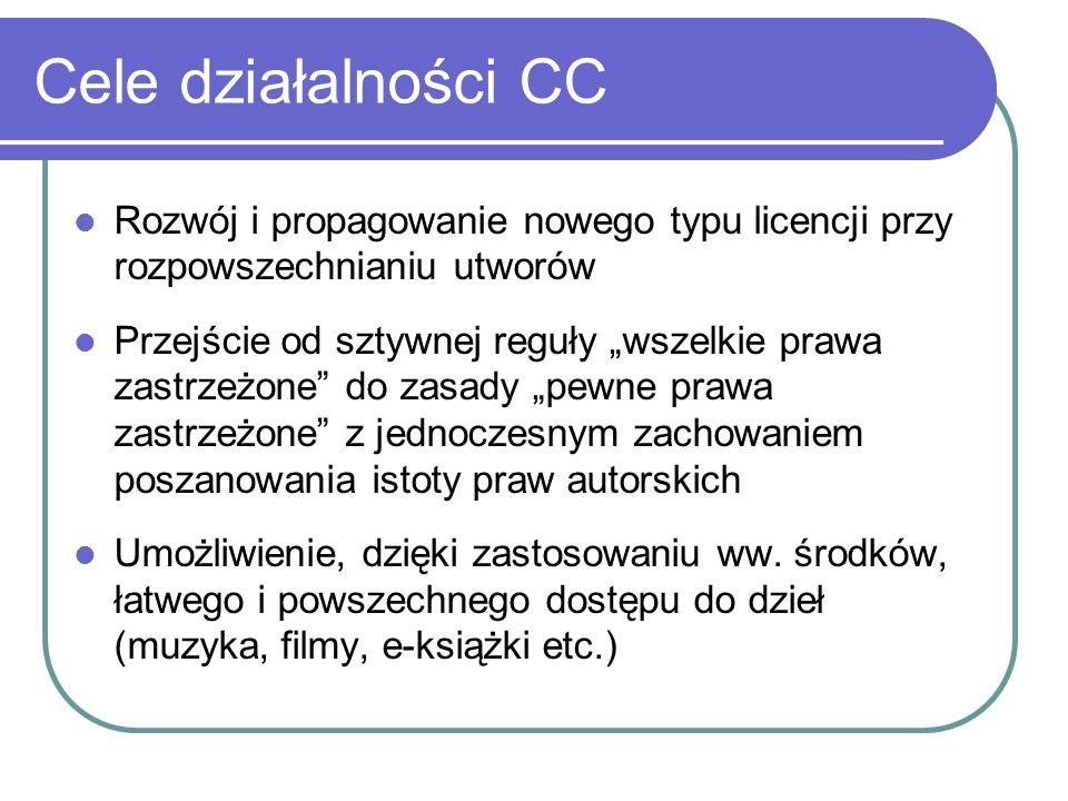 Cele działalności CC Rozwój i propagowanie nowego typu licencji przy rozpowszechnianiu utworów.