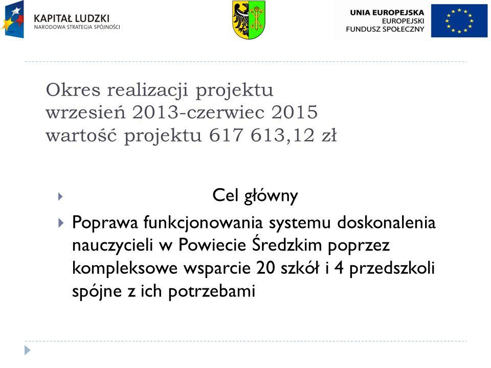 Okres realizacji projektu wrzesień 2013-czerwiec 2015 wartość projektu 617 613,12 zł