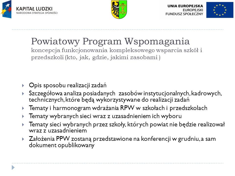 Powiatowy Program Wspomagania koncepcja funkcjonowania kompleksowego wsparcia szkół i przedszkoli (kto, jak, gdzie, jakimi zasobami )