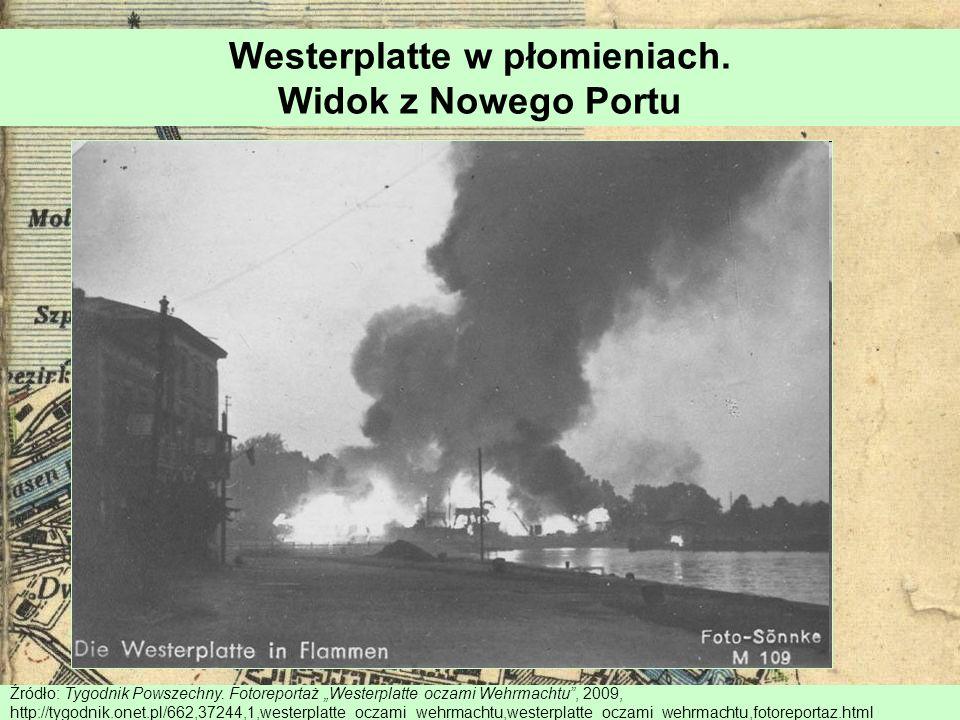 Westerplatte w płomieniach. Widok z Nowego Portu