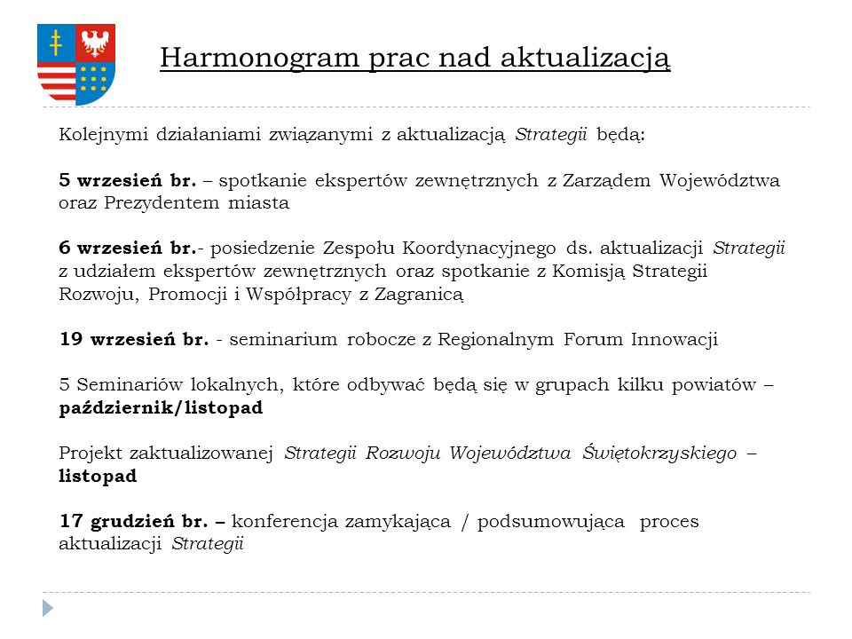 Harmonogram prac nad aktualizacją