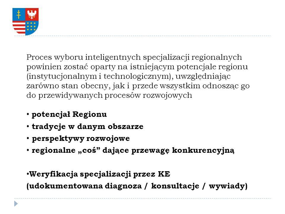Proces wyboru inteligentnych specjalizacji regionalnych powinien zostać oparty na istniejącym potencjale regionu (instytucjonalnym i technologicznym), uwzględniając zarówno stan obecny, jak i przede wszystkim odnosząc go do przewidywanych procesów rozwojowych