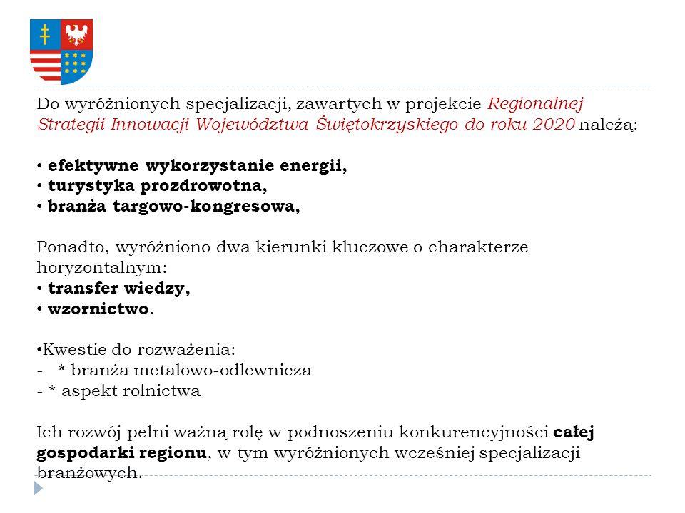 Do wyróżnionych specjalizacji, zawartych w projekcie Regionalnej Strategii Innowacji Województwa Świętokrzyskiego do roku 2020 należą:
