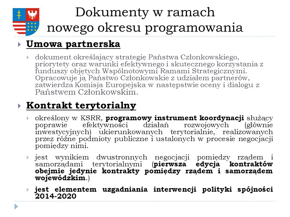 Dokumenty w ramach nowego okresu programowania