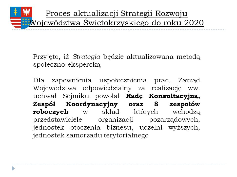 Proces aktualizacji Strategii Rozwoju Województwa Świętokrzyskiego do roku 2020