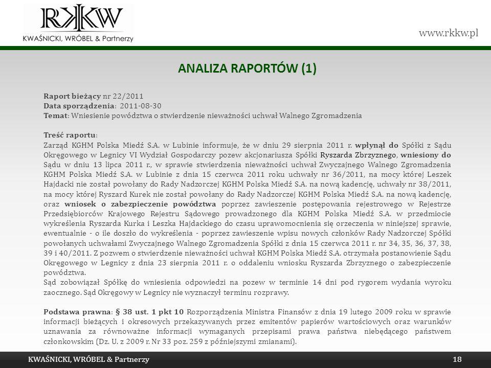 Analiza raportów (1) Tytuł prezentacji Raport bieżący nr 22/2011