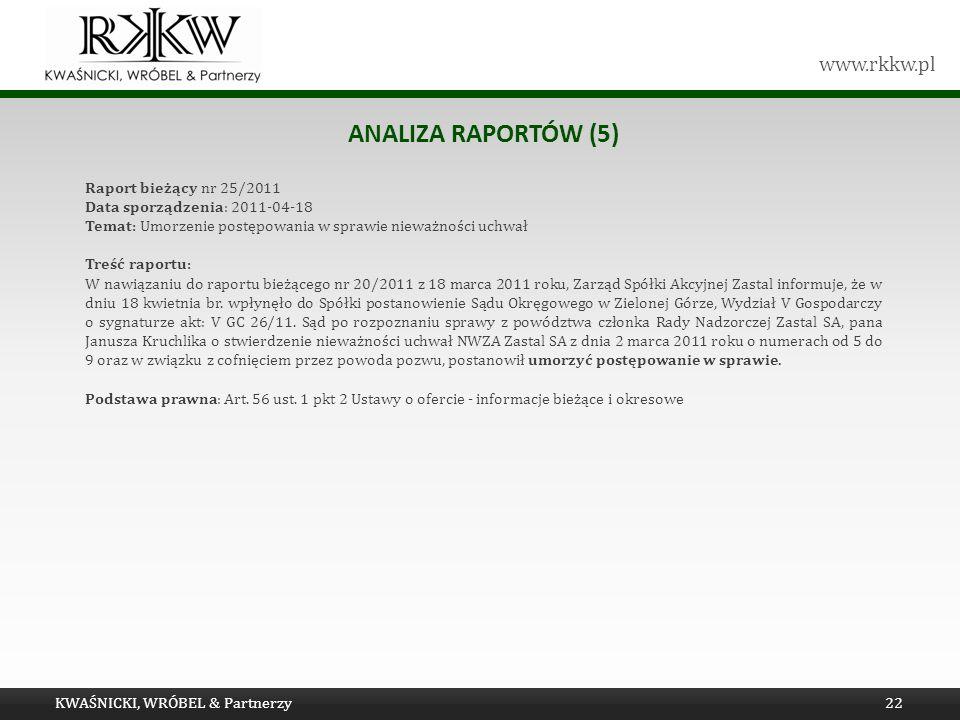 Analiza raportów (5) Raport bieżący nr 25/2011