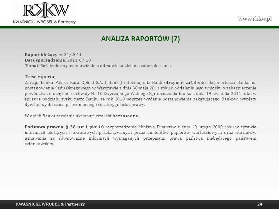 Analiza raportów (7) Raport bieżący nr 31/2011