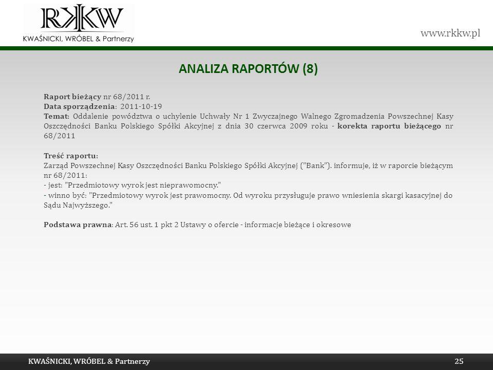 Analiza raportów (8) Raport bieżący nr 68/2011 r.