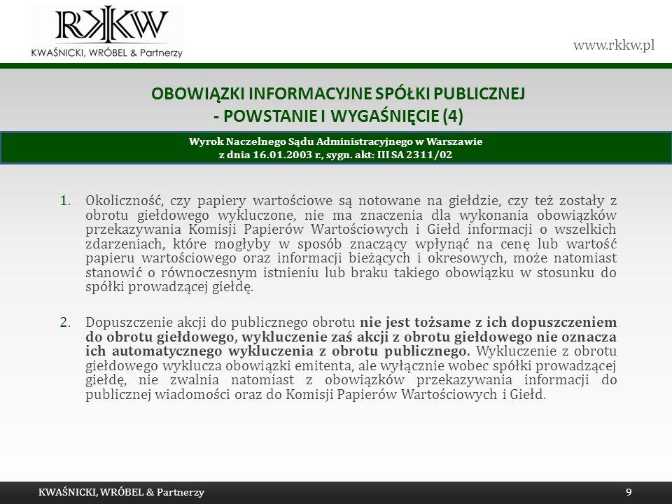 Obowiązki informacyjne spółki publicznej - powstanie i wygaśnięcie (4)