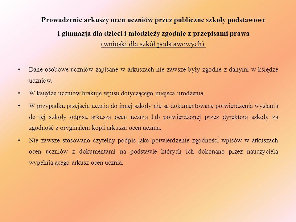 (wnioski dla szkół podstawowych).