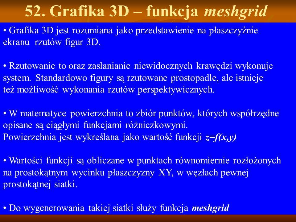 52. Grafika 3D – funkcja meshgrid